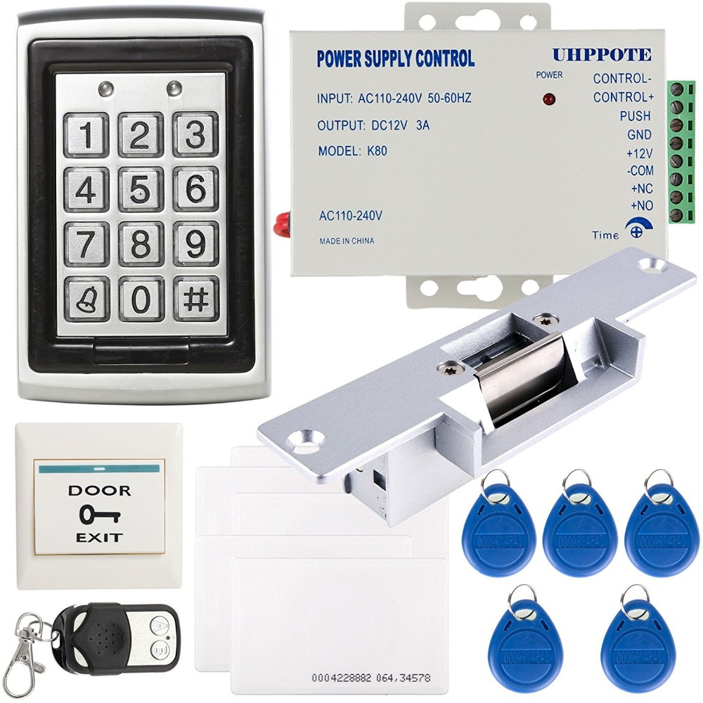 YobangSecurity Metal Shell Case 125Khz ID One-door Access Control Machine Unit With Electric Strike Lock 3A Power Supply Remote