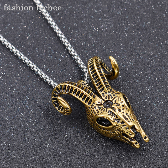 3e6624a1d18 fashion lychee Hot Sale Titanium Steel Vintage Gold Color Goat Head Skull  Pendant Necklace Chain For Men Jewelry