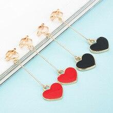 SUKI Red Black Enamel Heart Clip Earring Gold Silver Plate Lovely on Earrings non Piercing for Women no ear hole