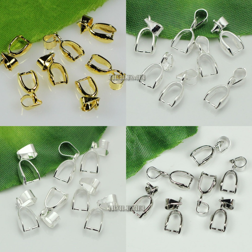 50pcs Pinch Bails Pendant Clip Connector Silver//Gold//Bronze Jewelry Findings