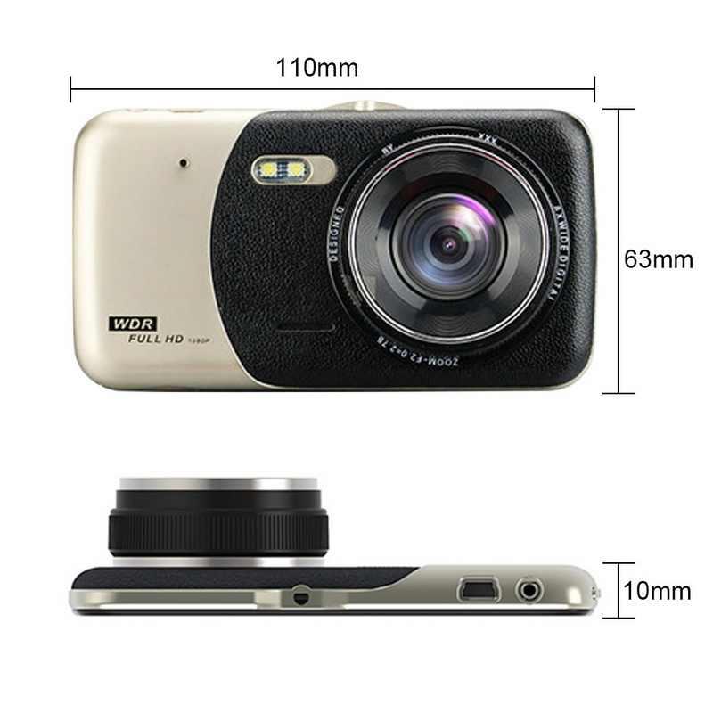 TOSPRA 4 pulgadas Cámara DVR de coche lente Dual Video Full HD 1080P visión nocturna infrarroja Auto Dash Cam frontal y grabadora de conducción trasera