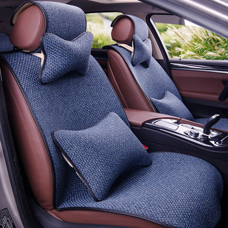 Cubiertas De Asiento De Coche Apto Hyundai i40 Negro//Azul Set Completo De Cuero