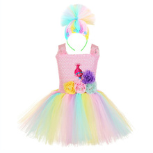 Princess Cartoon Comic Poppy Troll Tutu Dress for Baby Kids First Birthday Party Knee Length Dress Vestido Baby Girl Clothes Set цена