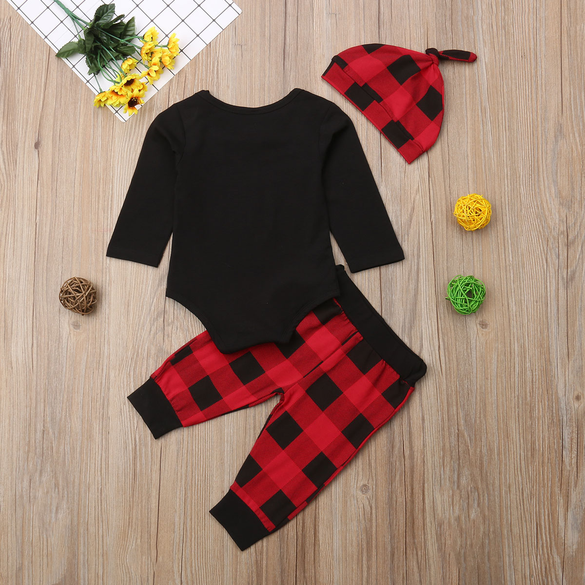 d026e7adc 3Pcs Toddler Baby Boy Xmas Clothes Jumpsuit Bodysuit Pants Hat Clothing  Plaid Cute Outfit Set Baby Boys 0-18M