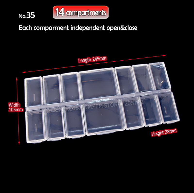 Organizer Box Storage 14 compartments for DIY work Nail Art Accessory Jewelry beads Crafts , portable container case