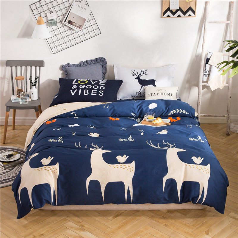 Twin queen size double single Bedding set for children 100%cotton soft Bed set 4Pcs Modern simple style duvet cover bedsheet set