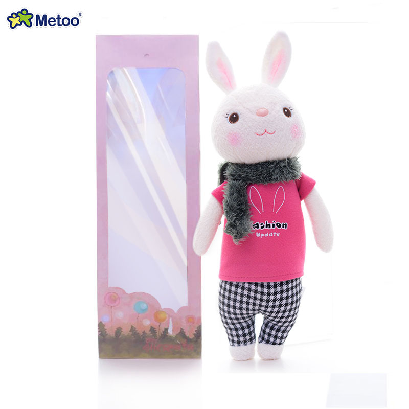 METOO Tiramisu Bunny Toy Plush Scarf Red Rabbit Dolls for Girls Birthday Gifts for Kids Stuffed Bunny Dolls