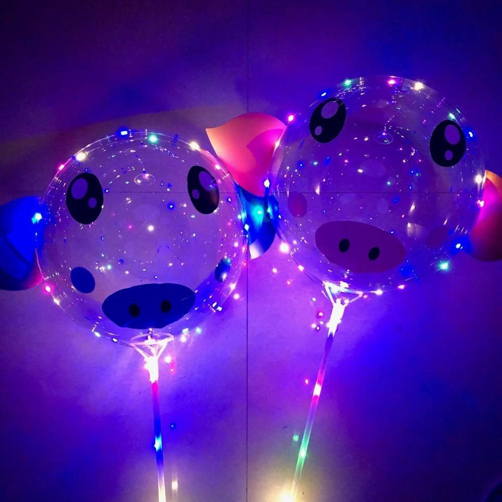 10pcs sets 20Inch BoBo Led Balloon light Pig Sticker globos helium to inflate balloons birthday party decorations kids ballon in Ballons Accessories from Home Garden