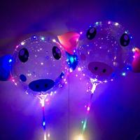 10pcs/sets 20Inch BoBo Led Balloon light Pig Sticker globos helium to inflate balloons birthday party decorations kids ballon