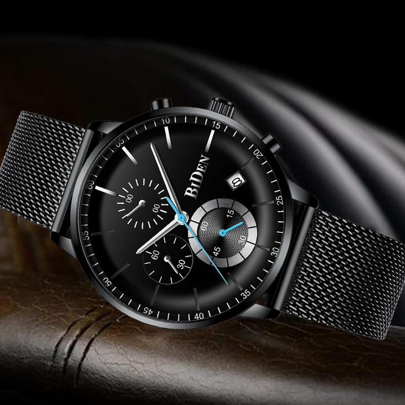 Montres pour hommes Top marque de luxe BIDEN hommes montres en acier montre à Quartz analogique courbe visage étanche Sports de plein décontracté - 3