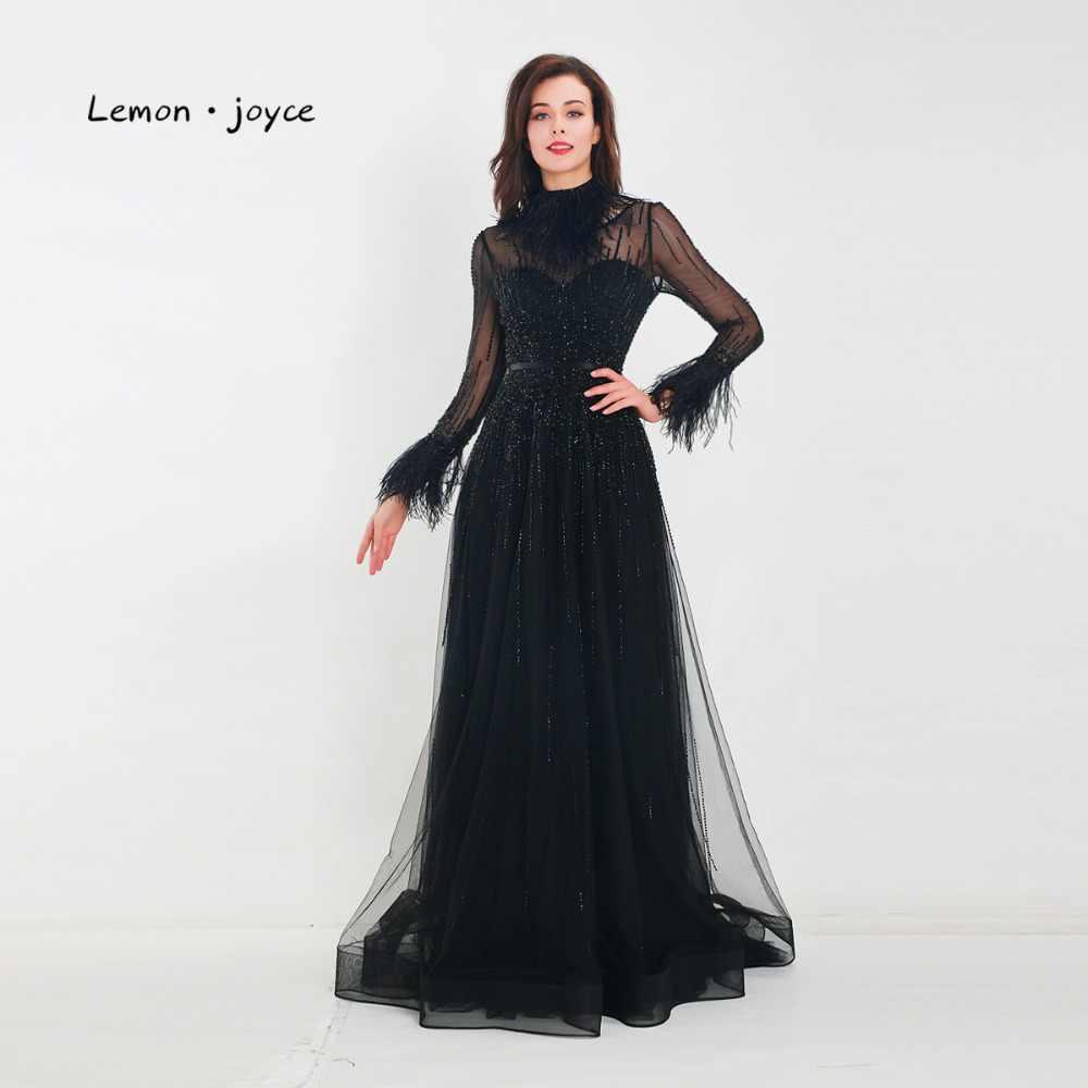 355e1f974c8 Лимон joyce черные вечерние платья с длинным рукавом сексуальные прозрачные  Бисероплетение Перья Длина пола выпусквечерние ные