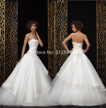 Charming Organza Wedding Dresses A Line Strapless Beads Applique Ruffle Lace Up Bridal Gowns yk1A564