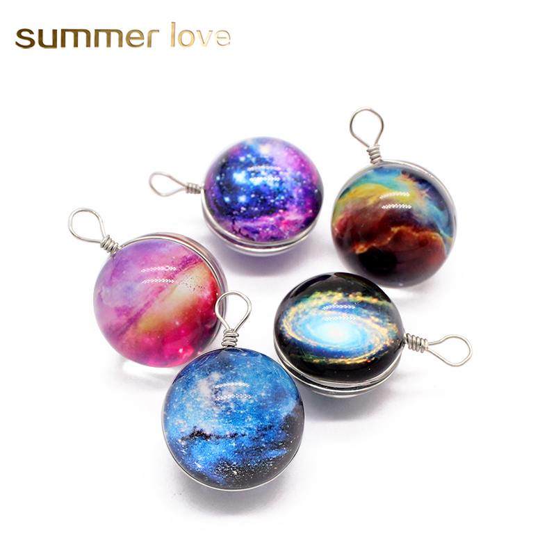 10 pcs/lot Wholesale 20mm Round Ball Glass Starry Sky Galaxy Pendant DIY Charms For Jewelry Necklace Making Handmade Acessories