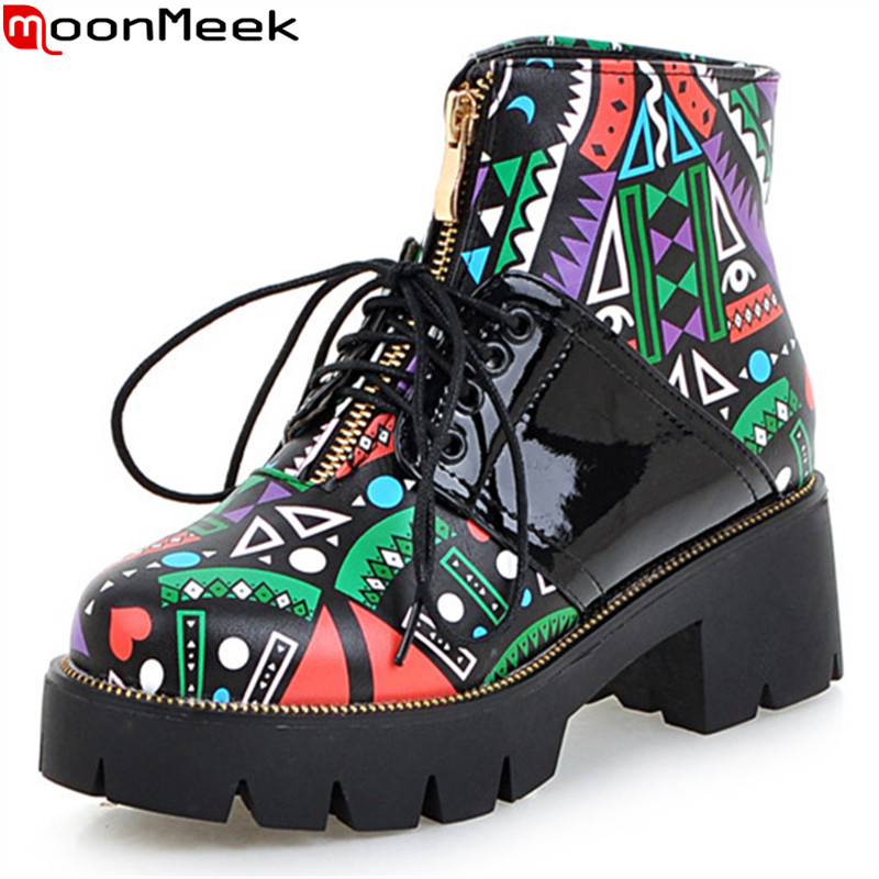 MoonMeek fashion new arrive women boots zipper lace up high quality pu ankle boots square heel