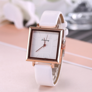 Brand Women's Watches Fashion Square Dial Embossed Dress Leather Band Quartz Wrist Watches Ladies Bracelet Watch