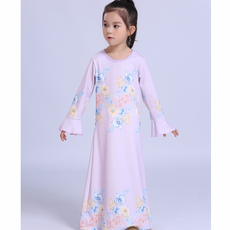 Muslim Children Long Sleeve Dress Islamic Kaftan Children Girl Princess Pink Dress Malaysia Kids New Year Dress brenner muslim identity