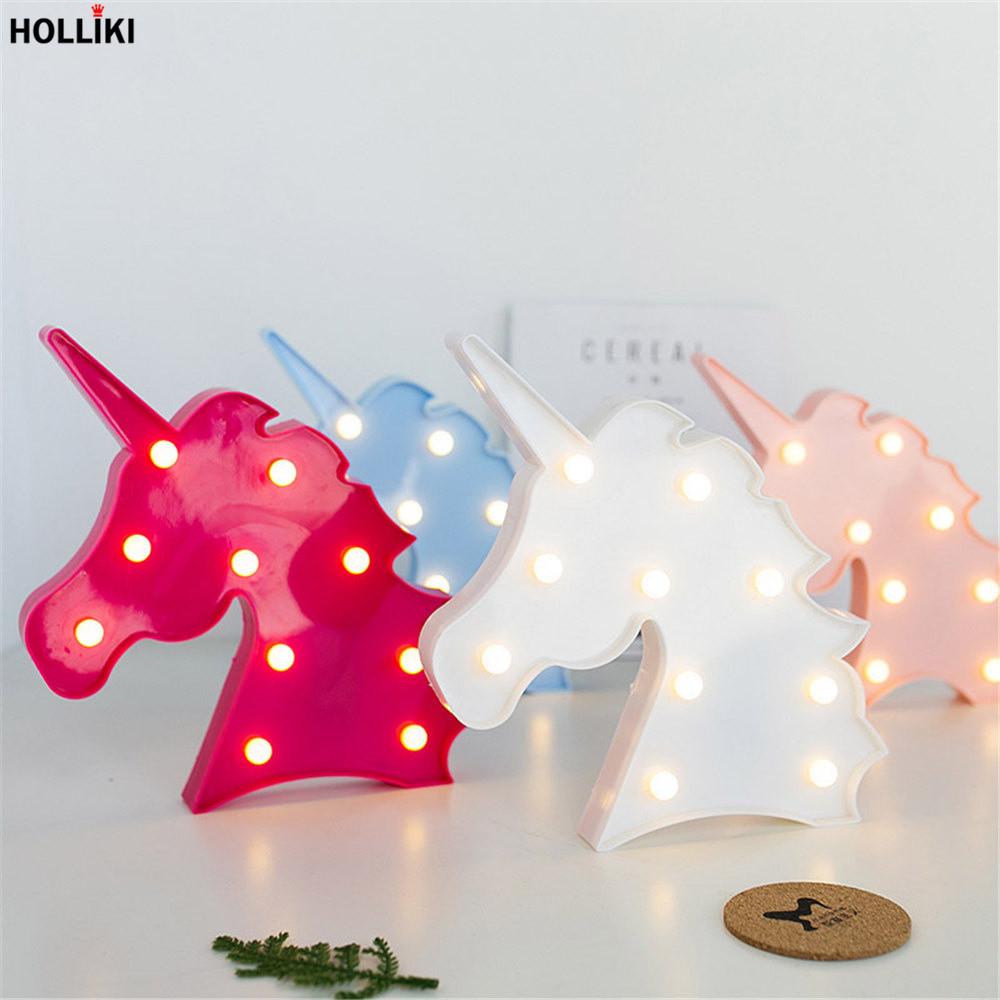 3d Led Horse Head Shape Table Lamp Lights Battery Powered Marquee Letter Night Lamp For Baby Bedroom Christmas Decor Kids Gift Carefully Selected Materials