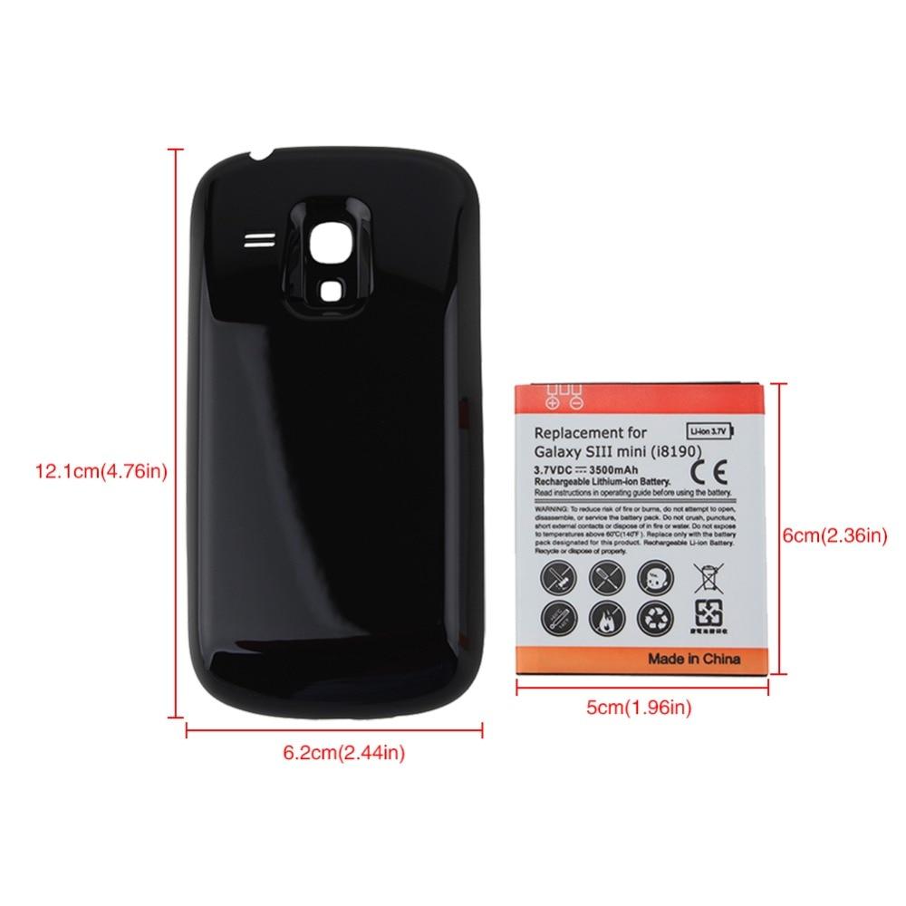 38b97490a2f 3.7VDC 3500 mAh reemplazo batería más gruesa de reserva extendida con la  contraportada negra para la galaxia S3 siii mini i8190 en Las baterías de  teléfonos ...