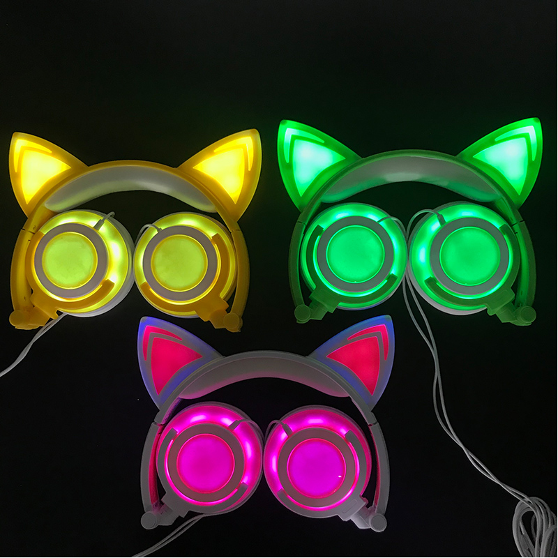 Cat Ear headphones LED Ear headphone cat earphone Flashing Glowing Headset Gaming Earphones for Adult and Children cartoon cat ear headphone flashing glowing cosplay cat ear headphones foldable gaming headsets earphone with mic for girl gift page 1