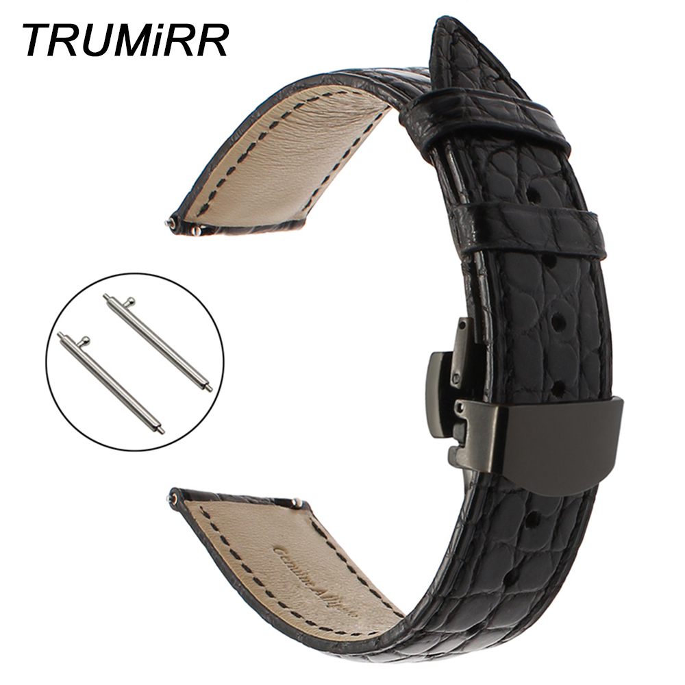 все цены на Genuine Alligator Leather Watch Band 18mm Strap for Huawei Watch / Fit Asus ZenWatch 2 Women Withings Activite/Pop/Steel HR 36mm онлайн