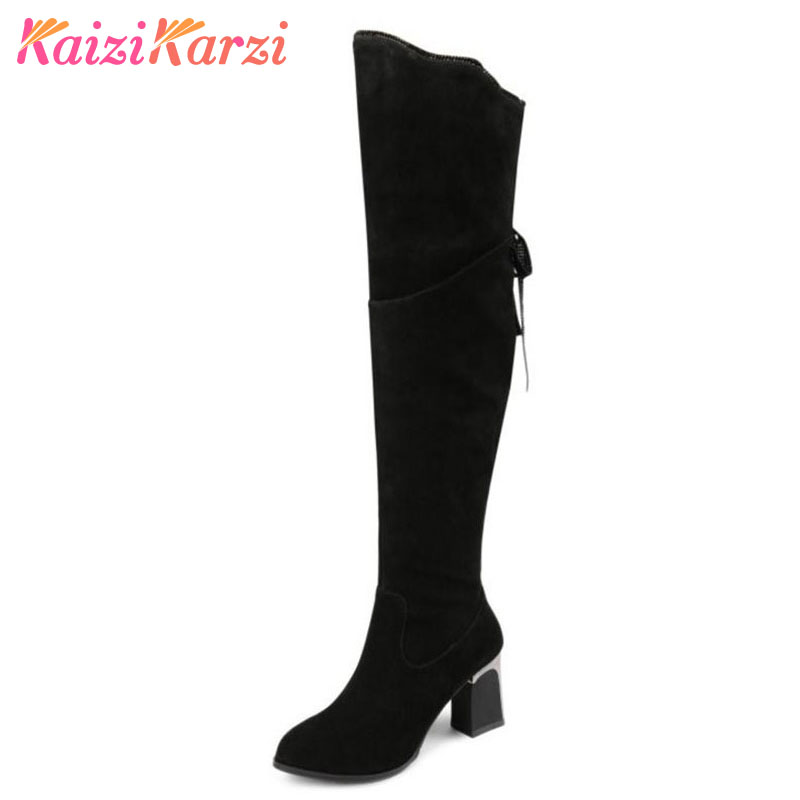 Coolcept Size 33-42 Women Real Leather Thick High Heel Over Knee Long Boots Women Zip Back Strap Ruffles Shoes Women Warm Botas coolcept size 31 45 warm winter boots for women real leather over knee long boots women rivets thick high heels warm botas