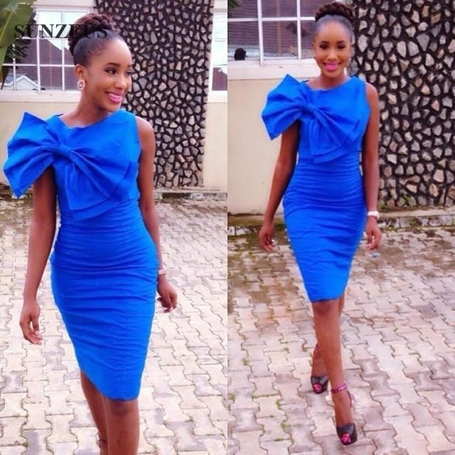 Royal Blue Cocktail Dress With Big Bow Elegant Knee Length Short Party Gowns African Women Wear SAU318