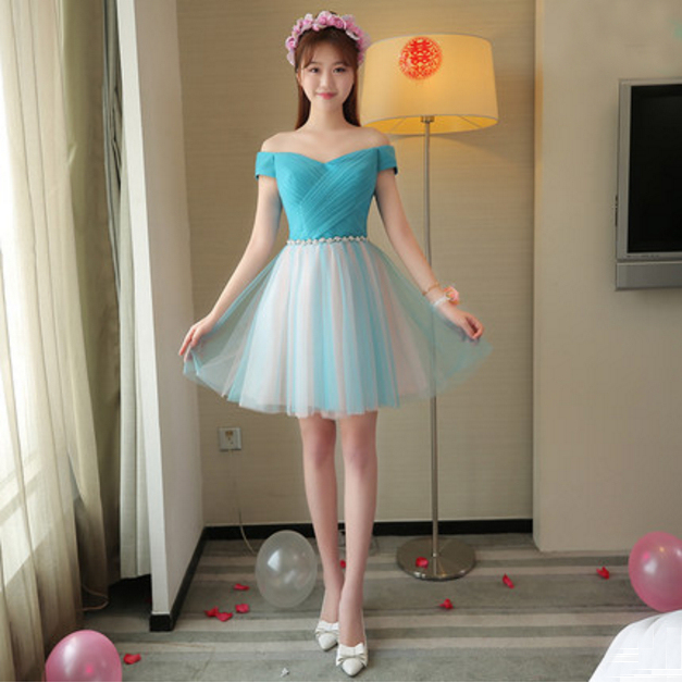 10f4fc775fa24 pretty girl elegant blue party special occasion dresses short off shoulder  ball gowns for prom light blue proms dress X4066