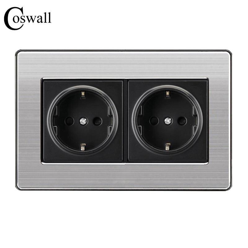 Coswall 16A EU Standard Wand Doppel Buchse Luxus Power Outlet Edelstahl Gebürstet Silber Panel 146mm * 86mm AC 110 ~ 250 v