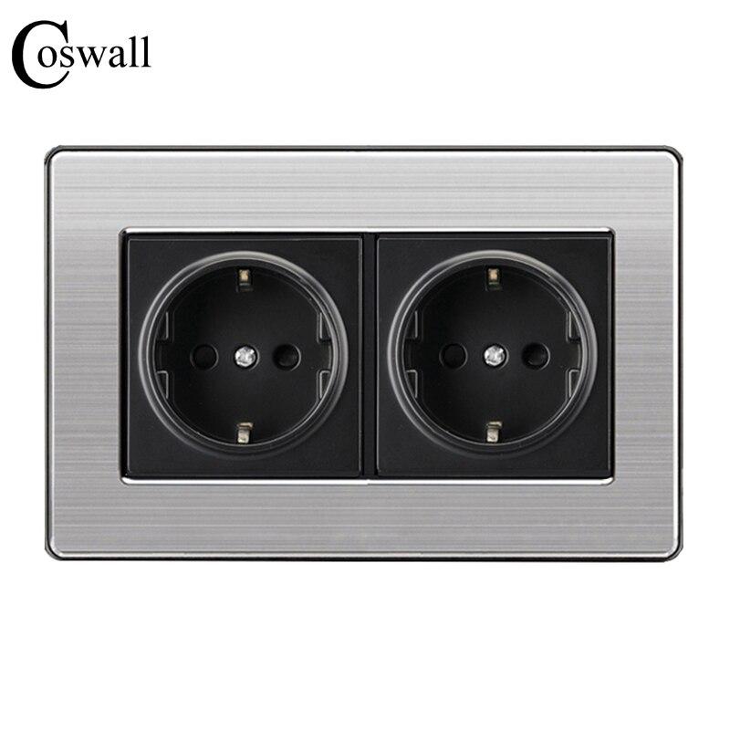 Coswall 16A estándar de la UE de la pared doble hembra de potencia de salida de acero inoxidable cepillado plata Panel 146mm * 86mm AC 110 ~ 250 V