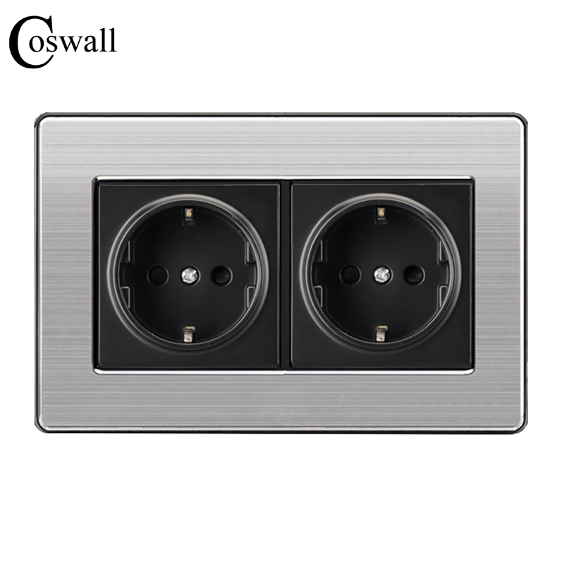 Coswall 16A EU Standard Wall Double Socket Luxury Power Outlet Stainless Steel Brushed Silver Panel 146mm*86mm AC 110~250V