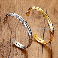 New Design Womens Mens Bracelets Bangles Stainless Steel Simple Twist Cuff Open Bangle Bracelet Gold Silver