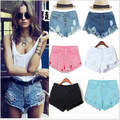 Hole Tassel Waist Jeans Breasted Frayed Edges Shall Be Short Denim Shorts For Women A039