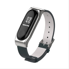 Mijobs Crazy Horse PU Strap For Xiaomi Mi Band 3 Smart Watch Screwless Bracelet mi band 3 Strap Miband 3 Strap Screwless Wrist