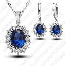 Earrings Necklace Jewelry-Sets Pendant 925-Sterling-Silver Wedding Cubic-Zirconia Woman