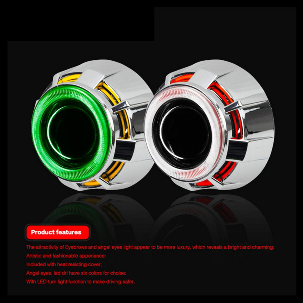 2.5 inch mini HID bixenon Projector Lens CCFL DRL led day running Light Angel Eyes shrouds for H1 H4 H7 car motorcycle assembly sanvi headlights assembly for k ia k5 q5 projector lens led angel eye and day running light