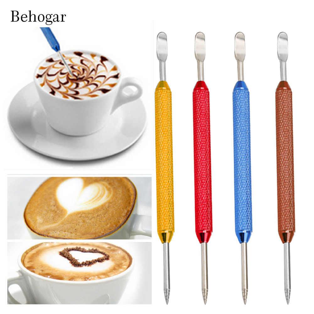 Behogar Нескользящая ручка из нержавеющей стали для кофе Художественная игла шпатель для кафе бариста латте пена капучино мокко инструменты для украшения