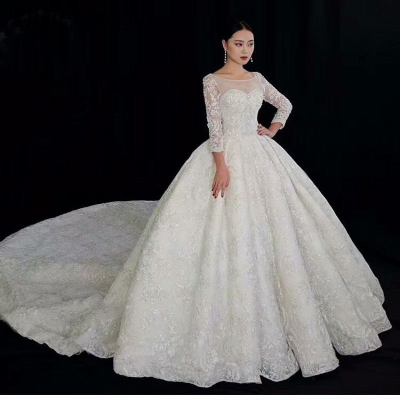 Ivory Lace Bodice Ball Gown Wedding Dress With Sheer Long: High Quality Lace Ball Gowns Wedding Dresses For Women