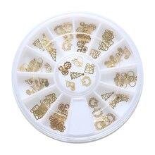 1Box 3D Tips Christmas Golden Santa Claus Nail Art Xmas Decoration Design Wheel Gift Electroplating Tablets