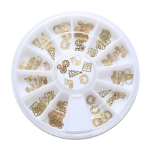 1Box 3D Tips Christmas Golden Santa Claus Nail Art Xmas Decoration Design Wheel Gift Electroplating Tablets Design