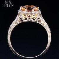 HELON 7.5mm Round 100% Genuine Citrine Silver 925 Engagement Wedding Filigree Women Jewery Vintage Antique 1930s Solitaire Ring