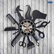 Coiffeur Salon de coiffure vinyle Record horloge murale Art décor à la maison femmes cadeau décoratif vinyle Record horloge murale noël