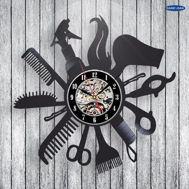 Hairdresser Barber Shop Salon Vinyl Record Wall Clock Art Home Decor Women Gift Decorative Vinyl Record Wall Clock Christmas