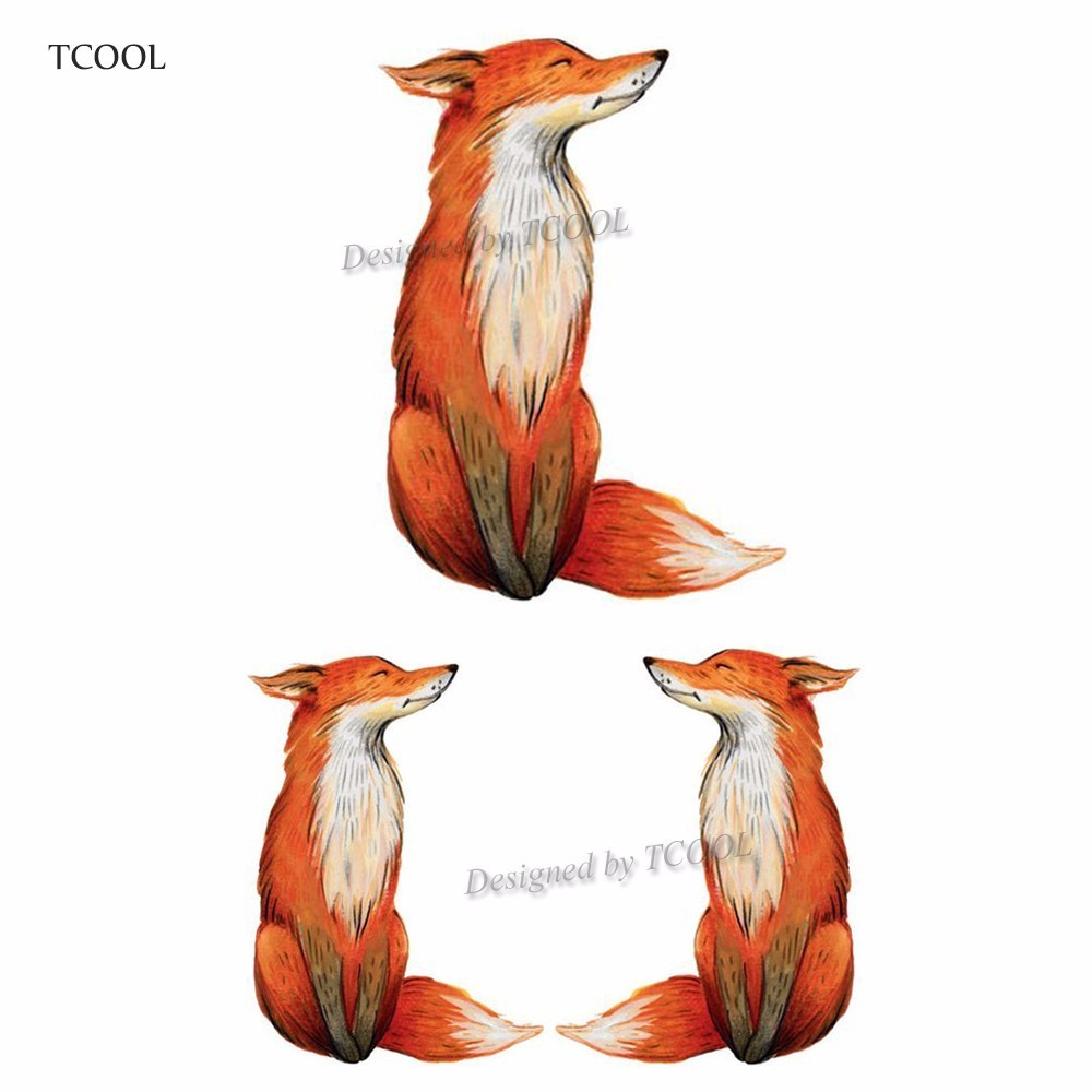 HXMAN Fox Temporary Tattoo Sticker Waterproof Women Fashion Body Art Tatoo Kids Children Hand Tattoos Paper 9.8X6cm A-021