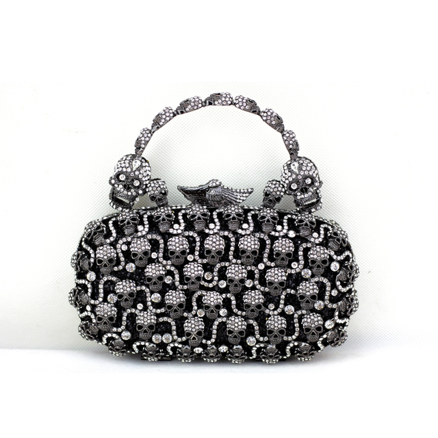 2017 Fashion Bags Black Silver Skull Crystal Clutch For Women Designer Handbags Quality Brand Evening