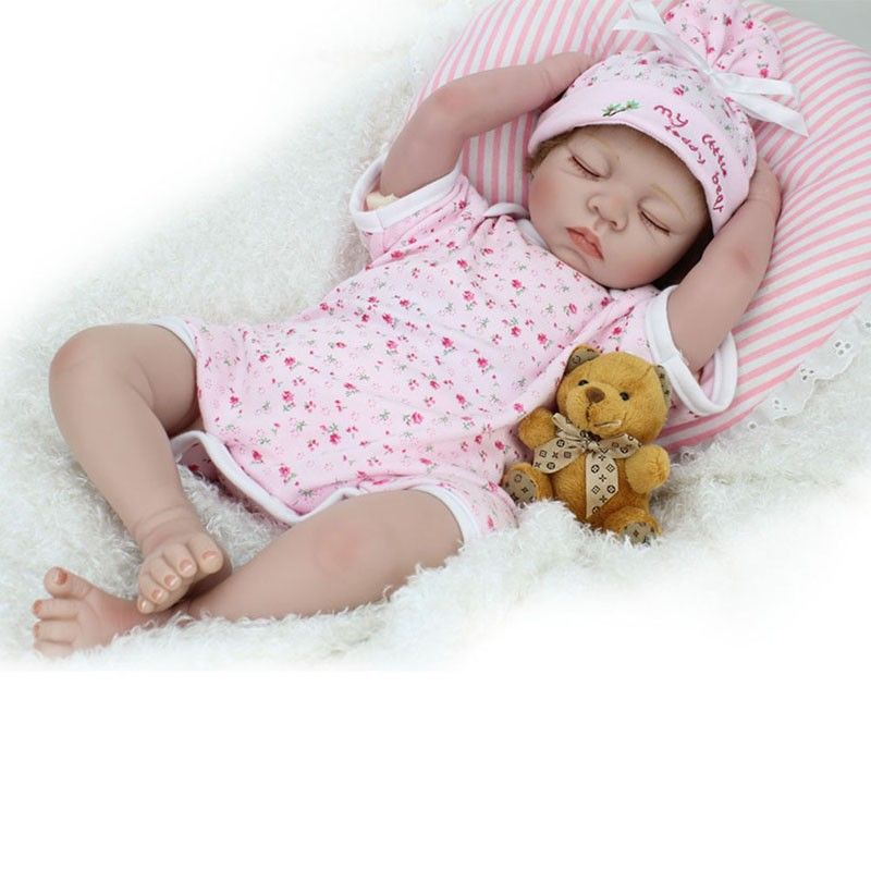 22inch Silicone Reborn Baby Interactive Dolls Lifelike Newborn Sleeping Girl Collectible Toys Women Treats interactive toys