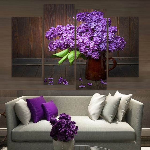 4pieces Modern Home Decor Wall Art Picture For Living Room Bedroom Decor  Purple Lilac Flower Canvas