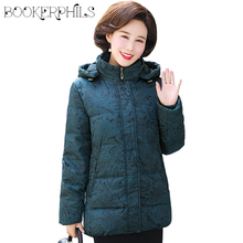 Middle-aged Women Parka Hooded White Duck Down Jacket Winter Warm 2019 Long Sleeve Thicken Women Winter Jackets and Coats Female стоимость