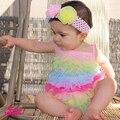 Estilo europeo niña correa de espagueti de una sola pieza del mameluco 100% algodón mameluco infantil del verano recién nacido Beach Wear 0 - 12 M