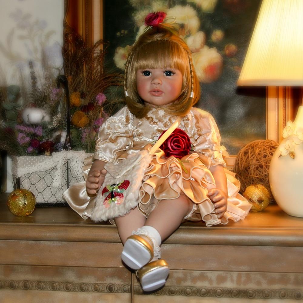Blonde Hair Blue Eyes Baby Alive Silicone Reborn Toddler Princess Girl Dolls Toys for Children Girls Boys Christmas Gift Dolls цены
