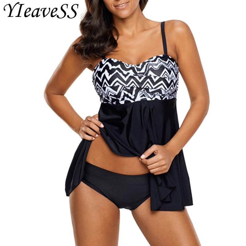 2018 Tankini Plus Size Swimming Suit 5XL Loose Swimsuit Women's Separate Bikini Waist Bather Push Up Padded Wire Free Swimwear
